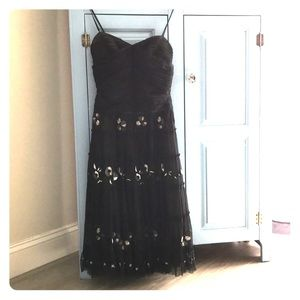 BCBG MAXAZRIA black embroidered tea length dress